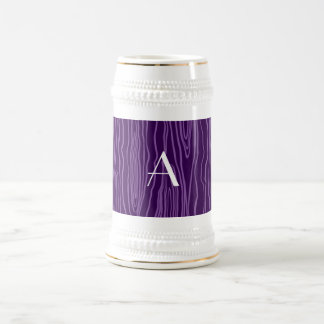 Monogram purple faux bois coffee mug