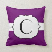 Monogram Purple Frame and Horizontal Band Throw Pillow