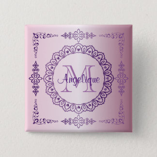 Monogram Purple Frame Fancy Lace Girly Jewel Lilac Pinback Button