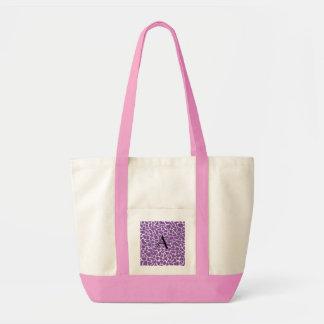 Monogram purple giraffe print tote bags