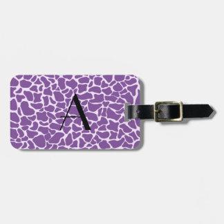 Monogram purple giraffe print tag for bags