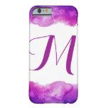 Monogram Purple Girly Watercolor iPhone Case