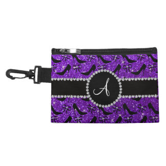 Monogram purple glitter black high heels bow accessory bag