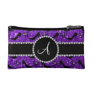 Monogram purple glitter black high heels bow makeup bags