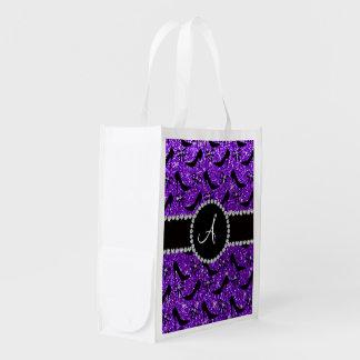 Monogram purple glitter black high heels bow reusable grocery bags