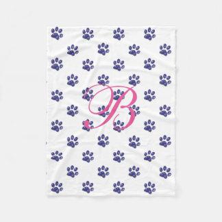Monogram, Purple Glitter, Cat Paw Prints, Fleece Blanket