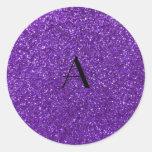 Monogram purple glitter classic round sticker