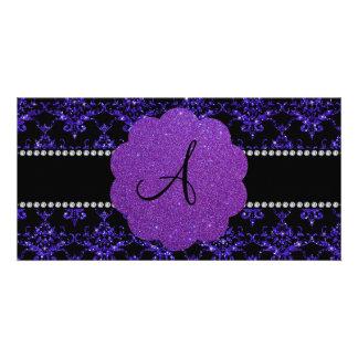 Monogram purple glitter damask photo card