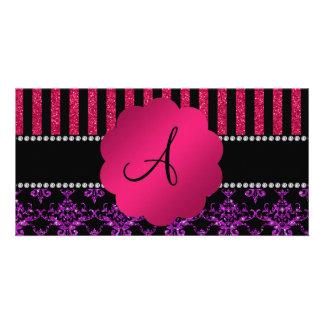 Monogram purple glitter damask pink stripes photo card