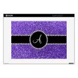 "Monogram purple glitter diamond black circle 15"" laptop skin"