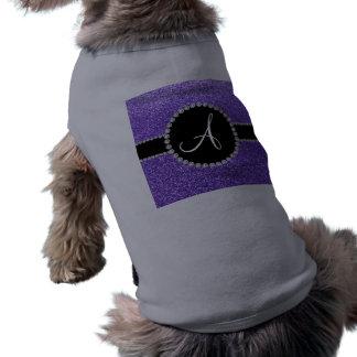 Monogram purple glitter diamond black circle pet tee