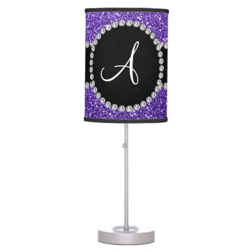 Monogram purple glitter diamond black circle desk lamps