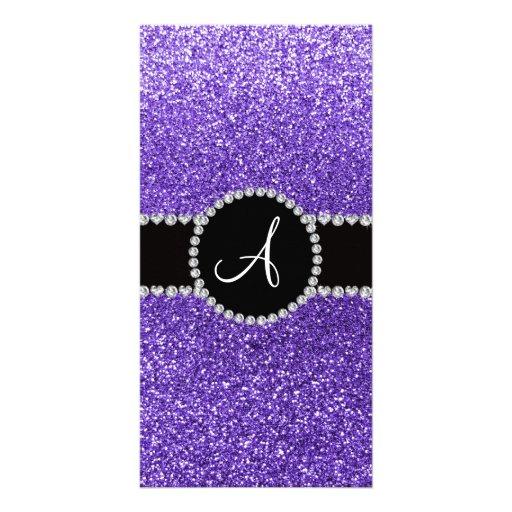 Monogram purple glitter diamond black circle photo greeting card