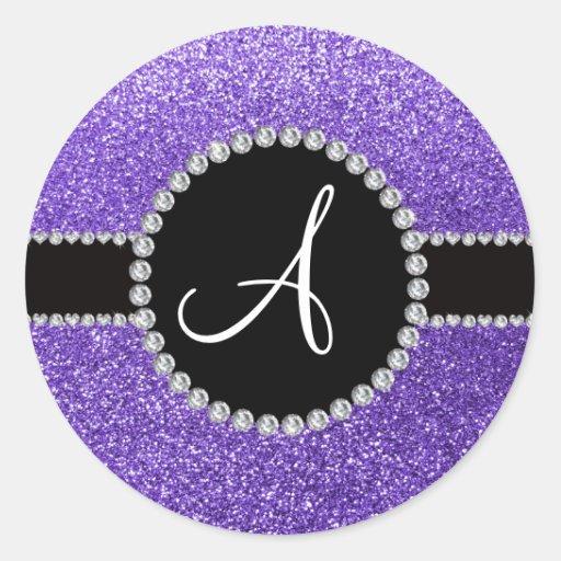 Monogram purple glitter diamond black circle round sticker