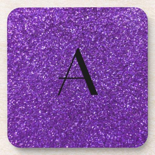 Monogram purple glitter drink coasters