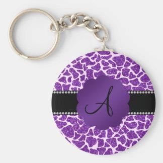 Monogram purple glitter giraffe print basic round button keychain