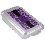 Monogram purple glitter giraffe print cake pan