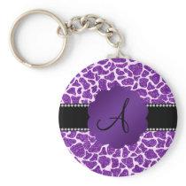 Monogram purple glitter giraffe print key chains