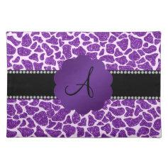 Monogram purple glitter giraffe print place mats