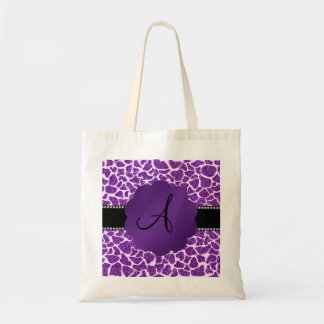 Monogram purple glitter giraffe print tote bag