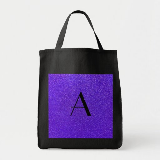 Monogram purple glitter grocery tote bag