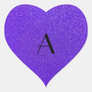 Monogram purple glitter heart stickers