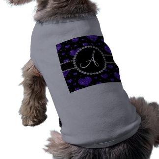 Monogram purple glitter hearts black diamonds dog clothing
