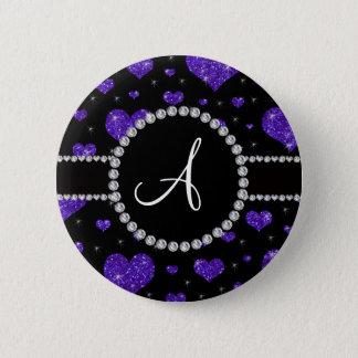Monogram purple glitter hearts black diamonds pinback button