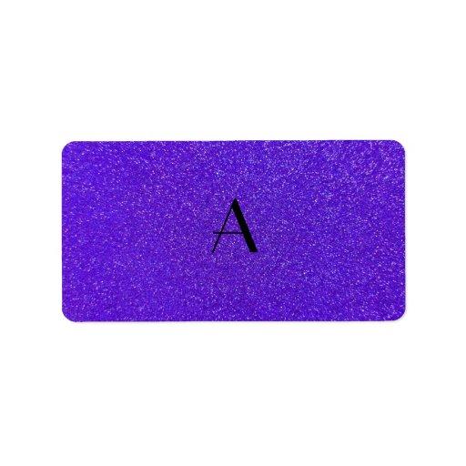 Monogram purple glitter labels