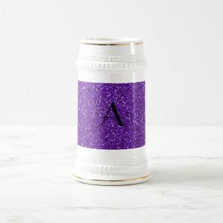 Monogram purple glitter 18 oz beer stein