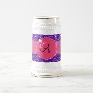 Monogram purple glitter pink flower circle 18 oz beer stein