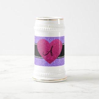Monogram purple glitter pink heart 18 oz beer stein