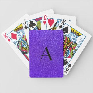 Monogram purple glitter playing cards