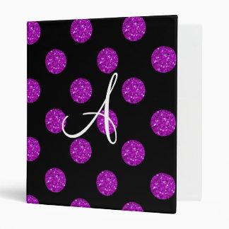 Monogram purple glitter polka dots 3 ring binders