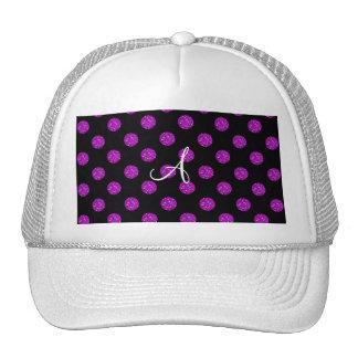 Monogram purple glitter polka dots trucker hat