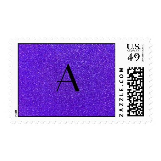 Monogram purple glitter postage stamps