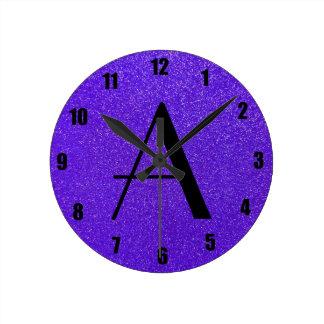 Monogram purple glitter round clock