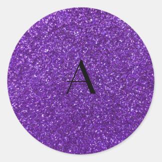 Monogram purple glitter round stickers