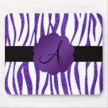 Monogram purple glitter stripes mouse pads