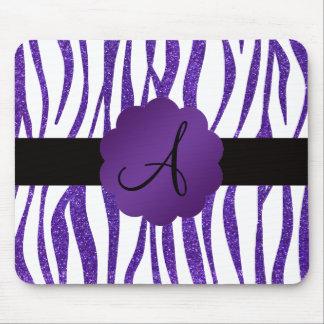 Monogram purple glitter stripes mouse pad
