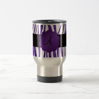 Monogram purple glitter stripes travel mug