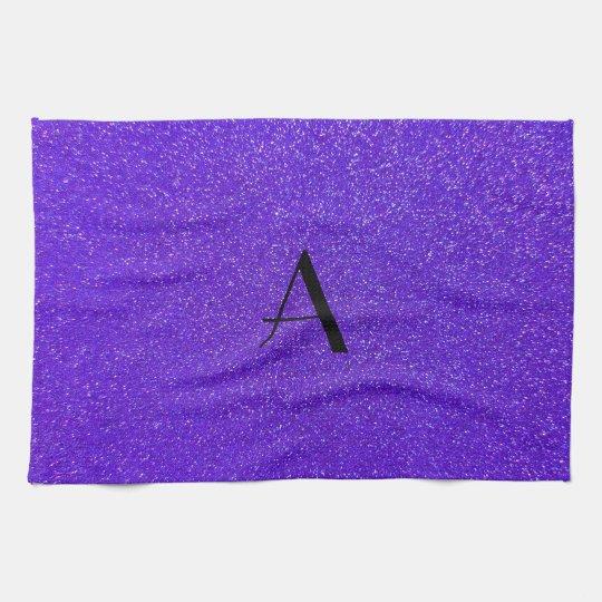 Monogram purple glitter towel