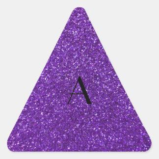 Monogram purple glitter triangle sticker