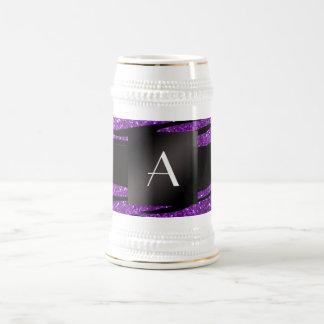 Monogram purple glitter zebra stripes 18 oz beer stein