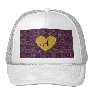 Monogram purple gold moroccan damask hat