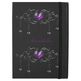 Monogram Purple Gothic Heart iPad Pro Cover iPad Pro Case