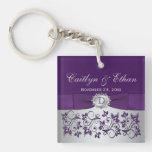 Monogram Purple Gray Floral Acrylic Keychain