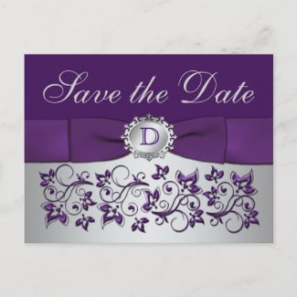 Monogram Purple Gray Floral Save the Date Postcard