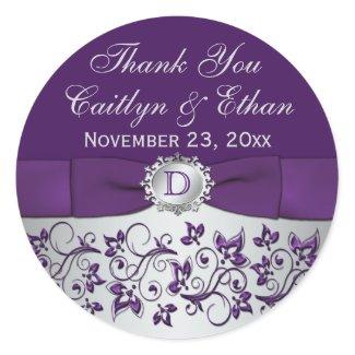 Monogram Purple Gray Floral Wedding Favor Sticker