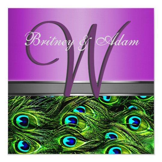 Monogram Purple Green Peacock Wedding Invitations